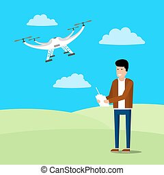 Drone illustration icons - Vector ion of a man operating a...