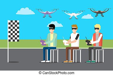 Drone illustration icons - Vector icon of 3 men operating a...