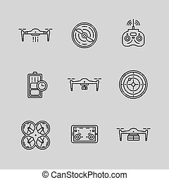Drone illustration icons - Drones vector icons set....