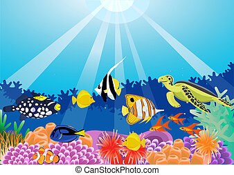 Sea life - Vector beautiful sea life