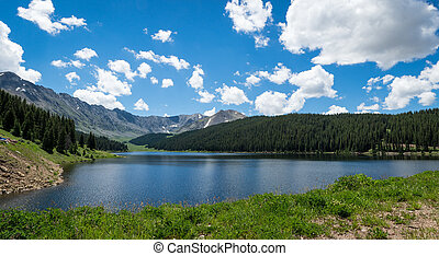 Lake in the Rockies - A lake in the middle of the Rocky...