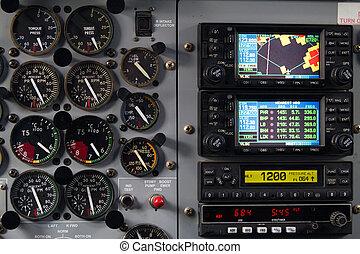 avión, tablero de instrumentos