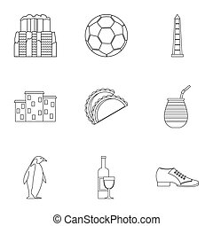 Attractions of Argentina icons set, outline style -...