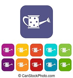 Watering can icons set illustration in flat style in colors...