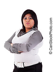 Portrait of a latin big girl Isolated over white, studio...