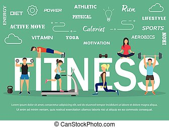Vector illustration of young people doing workout with...