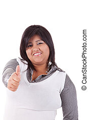 happy large latin woman, with thumb up, isolated on white...