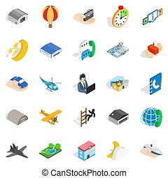 Notification center icons set, isometric style -...
