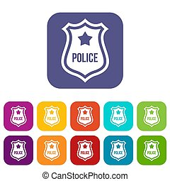 Police badge icons set illustration in flat style in colors...