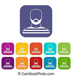 Bearded man in prison garb icons set illustration in flat...