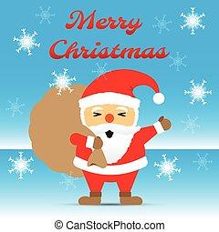 Merry Christmas - Santa Claus Carrying Gift Bag Among Snow...