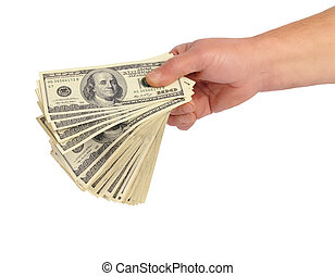 hand with money - men's hand with big bundle of american...
