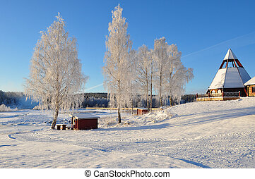 chirch, in sweden, scandinavia - Chirch in winter in the...