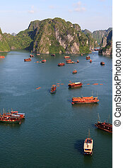 Halong Bay Portrait - Halong Bay junk boats gather for the...