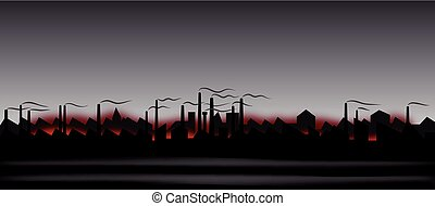 Abstract industrial landscape - Illustration of the abstract...