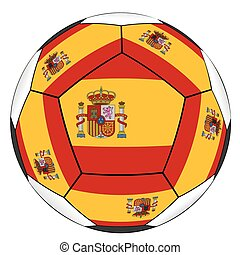 Soccer ball with Spanish flag isolated on white background -...