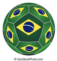 Soccer ball with Brazilian flag isolated on white background...