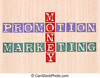 money, promotion and marketing word stamped on wooden...