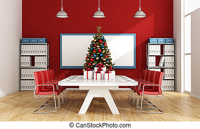 Board room with christmas tree and gift - 3d rendering