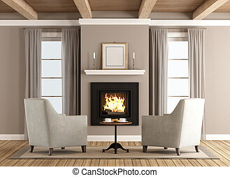 Classic living room with fireplace - Classic living room...