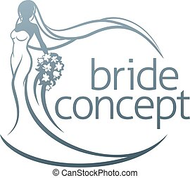 Bride Silhouette Flower Bouquet Concept - Abstract bride in...
