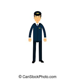 Airline pilot in blue uniform standing with bag, aircraft...