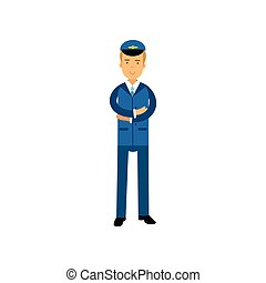 Airline pilot in blue uniform standing with folded hands,...