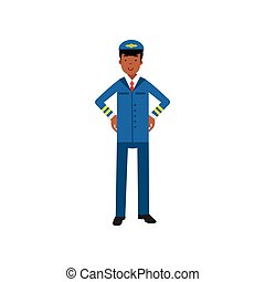 Airline pilot in blue uniform standing with hands on his...