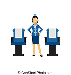 Stewardess in red uniform standing inside an airliner...