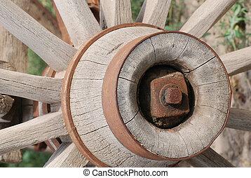 Old Wagon Wheel - Rusty old wagon wheel.
