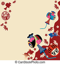 Japanese traditional card. Illustration vector.