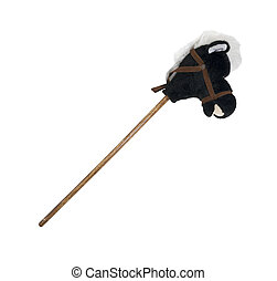 Hobby Horse - Plush hobby horse with a wooden stick for a...