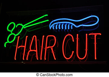 Haircut Neon Sign with Scissors and Comb