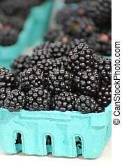Blackberries in a container for sale at a farmer's market.