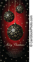 Merry Christmas card - Merry Christmas card with golden ball...