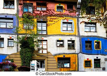 Hundertwasser house in Vienna - The view of Hundertwasser...