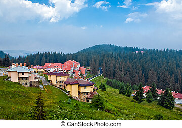 The modern houses and hotels in Bulgaria - The panorama view...