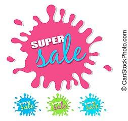 Super sale splash with drop shadow isolated on white...