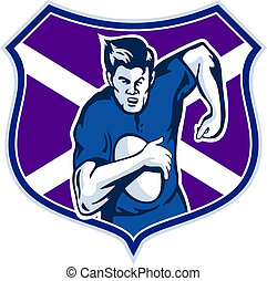 rugby player flag shield of scotland
