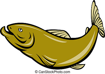 cartoon trout fish jumping side