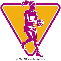 netball player ready to pass ball - illustration of a...