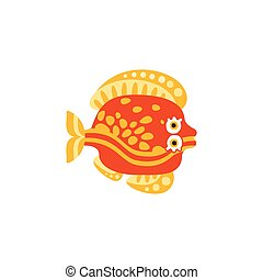 Cute flounder fish hand drawn vector Illustration isolated...
