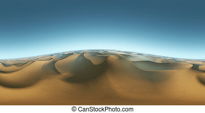 Panorama landscape of sand dunes, environment HDRI map....