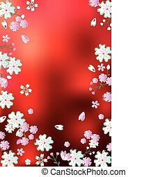 Abstract red blossoms background. Illustration vector.