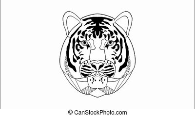 This is power, animation with tiger head in monochrome...