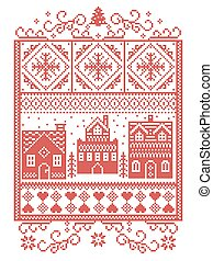 Christmas Scandinavian, Nordic style winter stitching, pattern including snowflake, heart, winter wonderland village, gingerbread houses, church, Christmas tree, snow in red, white in rectangle frame