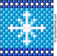 background blue glossy cubes and snowflake - abstract...