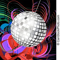 abstract disco ball - black background with abstract colored...