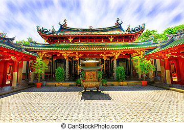 Chinese temple courtyard - Interior courtyard of Chinese...