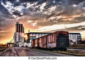 Grain Terminal at Sunrise - Grain terminal at sunrise in...